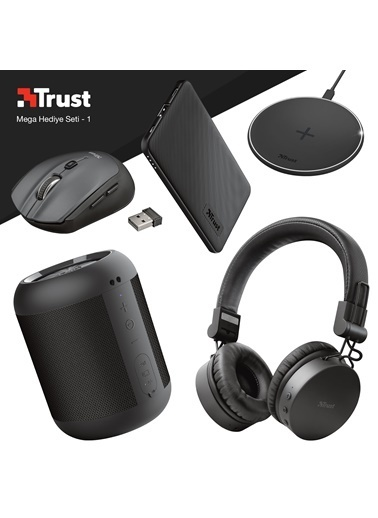 Trust Trust Tones Siyah Bluetooth Kulak Üstü Kulaklık ve Siyah Powerbankli Mega Hediye Seti Renkli